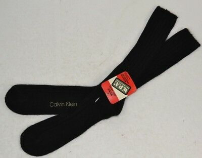 Vintage 1970's Calvin Klein Men's 75% Orlon Thick Ribbed Socks, Black 10-13