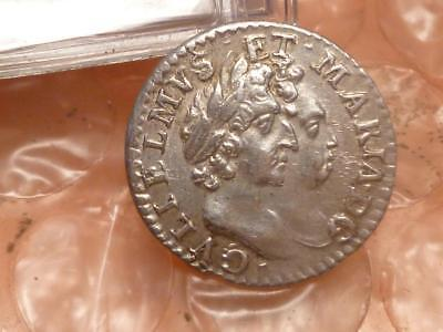 1689 William & Mary Silver Maundy Twopence Double Die Lettering High Grade RARE