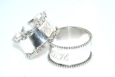 2pc Sterling Silver Napkin Ring Lot Initials