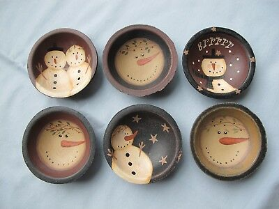 Set of 6 Folk Art Collectible Holiday Christmas Snowman Painted Bowls 3 Inch