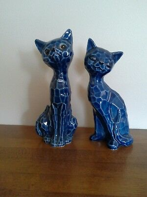 Vintage Blue China Cats