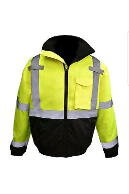 Forge  Reflective Safety Bomber Jacket with Quilted Liner, Yellow/Lime size 3xl