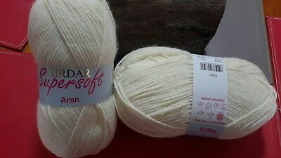 Sirdar Supersoft Aran knitting crochet yarn 2 X 100g Oatmeal
