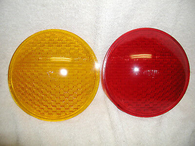 *TWO*TRAFFIC SIGNAL GLASS  ECONOLITE  LOGO  8 INCH  RED  LENSES