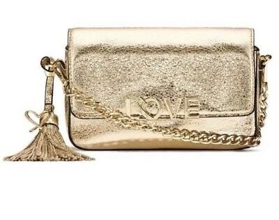 a561371e410 New Victoria s Secret Crackle Gold Metallic LOVE Crossbody Purse Clutch  chain