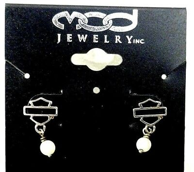 NEW Harley Davidson ~ 925 Sterling Silver ~ Earrings ~ Mother of Pearl ~ MOD