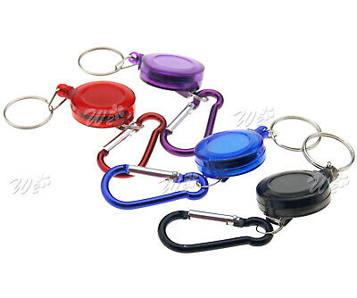 2pcs Recoil Extendable Wire Key Chain Ring Clip Pull Keyring Retracting