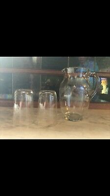 Victorian Etched Glass Jug And Two Glasses. Very pretty.