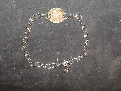 Vintage Antique Usa Stainless Steel Mercury Dime Link Silver Coin Charm Bracelet