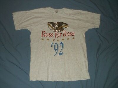 VTG 90's Ross PEROT '92 t-shirt LG Gray Cotton Boss President Politics