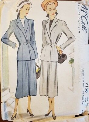Mid-to-Late 1940s McCall's Ladies' Suit Pattern (#7156)--Free Resizing Tutorial!