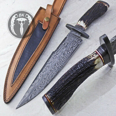 17 Unique Custom Made Damascus Steel Fixed Blade Tactical Knife By
