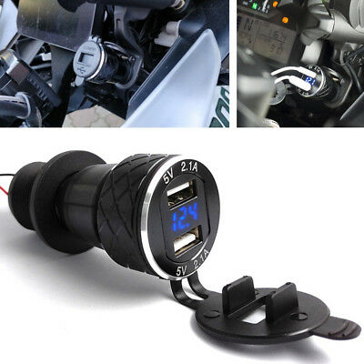 1x CNC Hot 4.2A Motorcycle Dual USB Charger For BMW F800GS F650GS F700GS R1200GS
