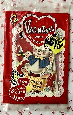 Vintage Mid Century Original Package of 12 Valentines for Girls & Boys