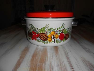 Vintage Enamel Retro Stock Pot Large Saucepan Made in Japan