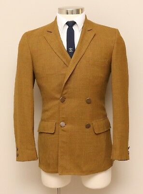 Vintage Mens 34S Mavest Gold Wool Double Breasted Blazer