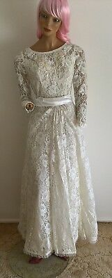Vintage 80's bead & sequin l/s lace floral layered wedding dress Size 10/S