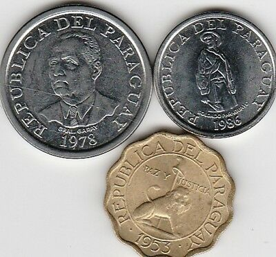 3 different world coins from PARAGUAY