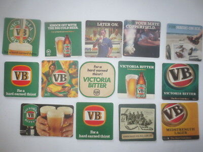 14 different VICTORIA BITTER Brewery Issue BEER Coasters collectable