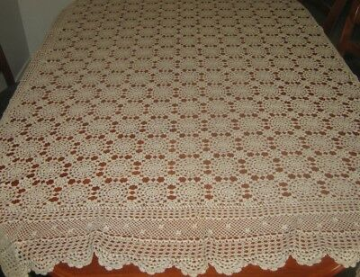 Vintage Crocheted Lace Tablecloth ~ Fawn ~ Cotton ~ Oblong
