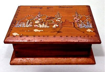 1940's hand made and painted pine souvenir trinket box from Tasmania