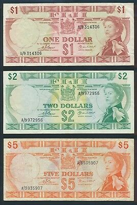 "Fiji: 1974 $1, $2 & $5 QEII Sig Barnes-Earland ""SET OF 3 NOTES"". Pick 71a to 73b"