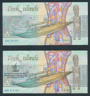 "Cook Islands: 1987 & 1992 $3 ""ARTS FESTIVAL COMMEMORATIVE"". P3a & 6 UNC Cat $17*"