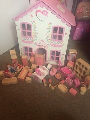 Hello Kitty Wooden Dolls House With Lots Of Wooden Furniture