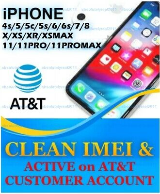 UNLOCK SERVICE USA AT&T  IPhone ACTIVE on ANOTHER ACCOUNT 5s 6 6s 7 8 + X XS 11