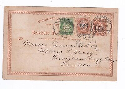 Norway Postal Stationery. 1897. Kristiania to London. With Stamps added.