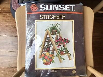 Vintage Stichery Embroidery Crewel Wall Panel Picture Plant Ladder 16 by 20 ins