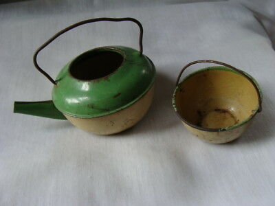 AAAF (2) Early Antique Childs Tin Cream & Green Primitive Kitchen Baking Toys