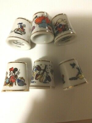 The 1St Disney Character Thimble Collection 6 Pcs Multiple Look!!