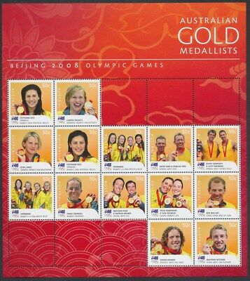 AUSTRALIA: 2008 Beijing Olympic Gold Medallists Stamp Sheet. MUH