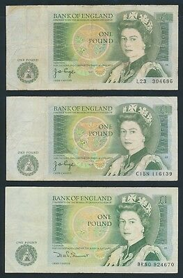"Great Britain: (1978-81) £1 Page & Somerset ""SET 3 INCLUDING PREFIX VARIETIES"""