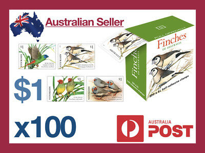 x 100 $1 Self Adhesive Stamps Finches of Australia Post Unopened Box Bulk New