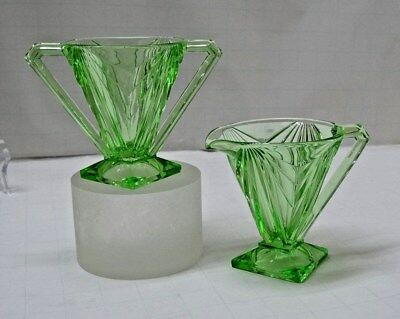 Indiana Depression Glass CREAMER and SUGAR Pyramid  #610 GREEN Art Deco
