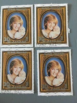 4x Sonderbriefmarke - Lady Di Prince William DPR - Poststempel 21.9.1982