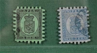 Finland 2 Stamps 1866 8 & 20 Pen Sg 36 & Sg 46 Used   (S64)