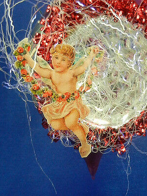 Vintage Style Victorian Cherub Tear Drop Glass Christmas Tree Ornament 003183