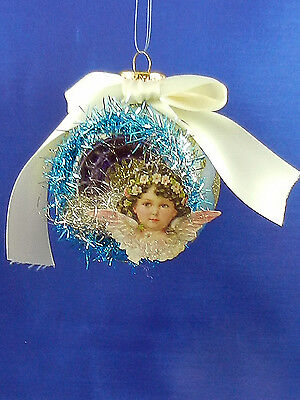 Vintage Style Victorian Blue Angel Wings Glass Christmas Tree Ornament 003183