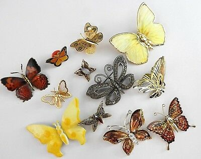 Lot Butterflys Vintage Now Signed Estate Brooches Womens Jewelry Enamel Stone 12