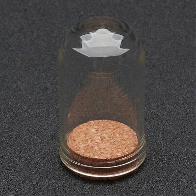 2 Glass 44.5x25mm Vial Domed Display Bottles with Cork. (A1C)