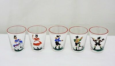 Set of 5 Vintage German? Thin Walled Shot Glasses Red Rimmed Dancing Guitar