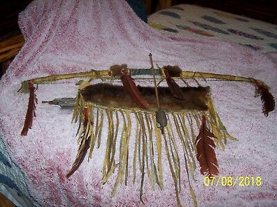 Native American Old Bow Quill And Arrows