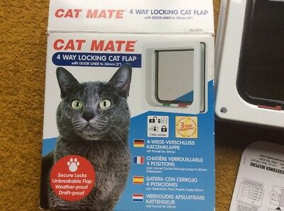 Cat Mate - 4 Way Locking Cat Flap With Door Liner (to 50mm) - Boxed + Instructs