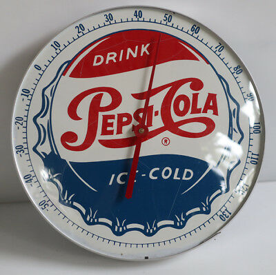 "Vintage 12"" PEPSI COLA CAP Thermometer Sign  not pam"