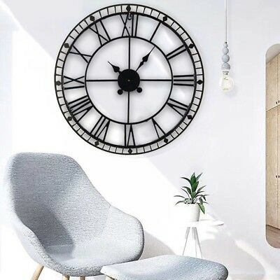 40/60/78/88 CM Large Roman Wall Clock Vintage Antique Metal Numeral Skeleton