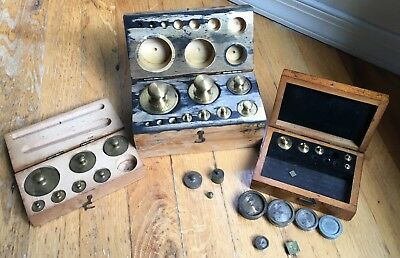 Vintage Brass Scale Weights 3 Boxes Some Missing