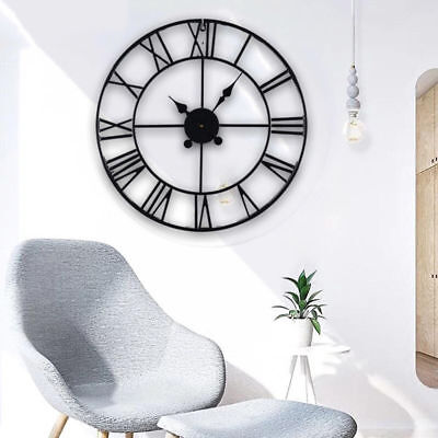 40cm Roman Numeral Round Black Metal Skeleton Indoor/Garden Outdoor Wall Clock